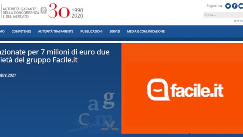 Assicurazioni: l'Antitrust multa per 7 milioni di euro due società del gruppo Facile.it